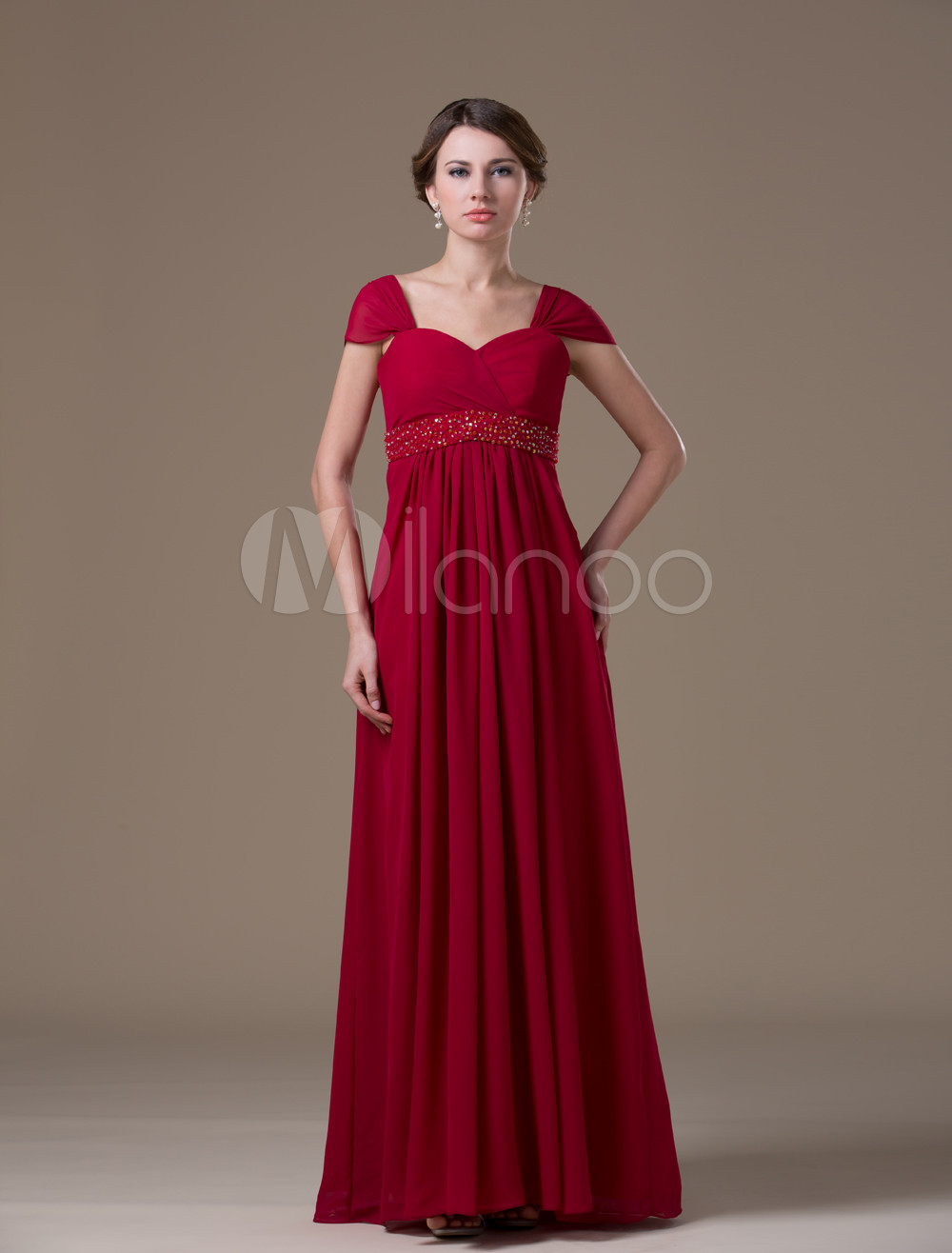 Blue Fashion Chiffon Floor-length Maternity Bridesmaid Dress