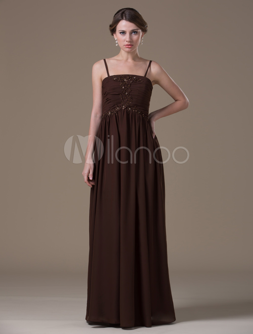 Brown Classical Spandex Satin Floor-length Maternity Bridesmaid Dress