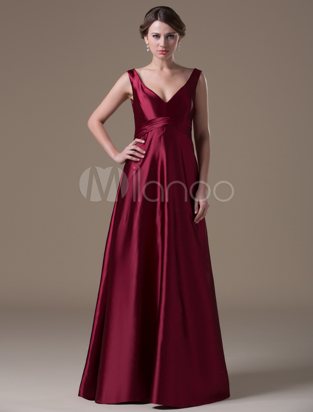 Burgundy Hot Spandex Satin Floor-length Maternity Bridesmaid Dress