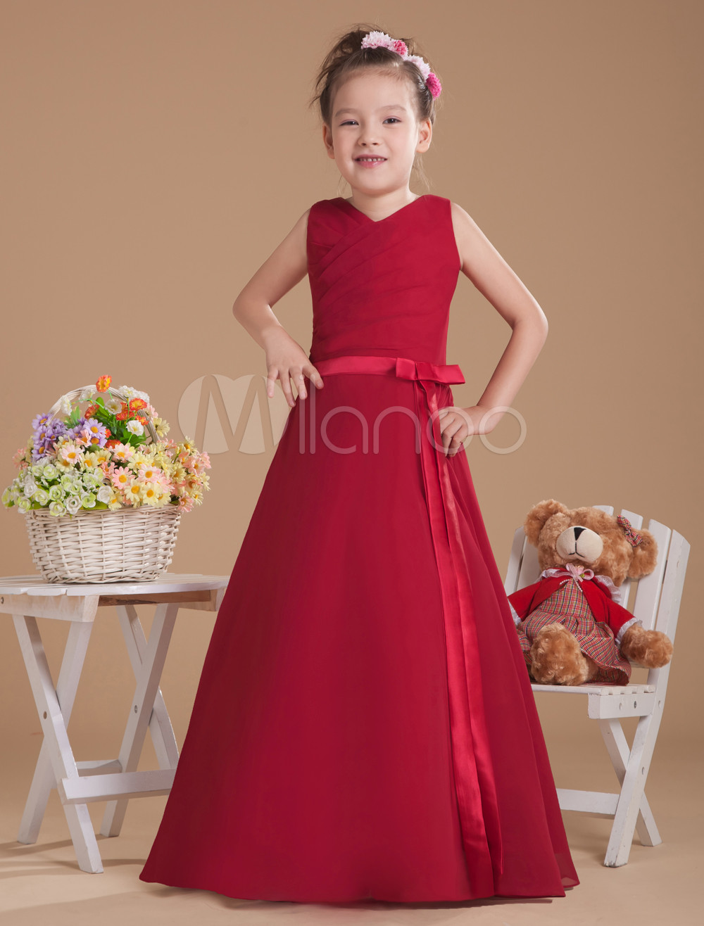 Burgundy V-Neck Bow Sash Chiffon Junior Bridesmaid Dress