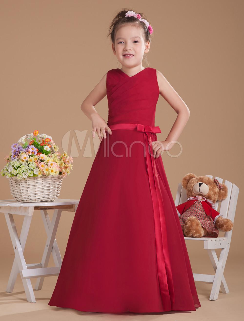 Burgundy V-Neck Bow Sash Chiffon Junior Bridesmaid Dress
