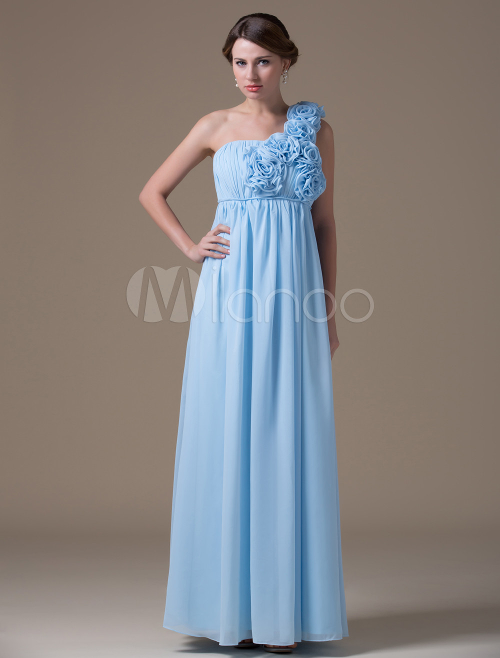 Cinerous A-line One-shoulder Chiffon Floor-length Womens Maternity Bridesmaid Dress
