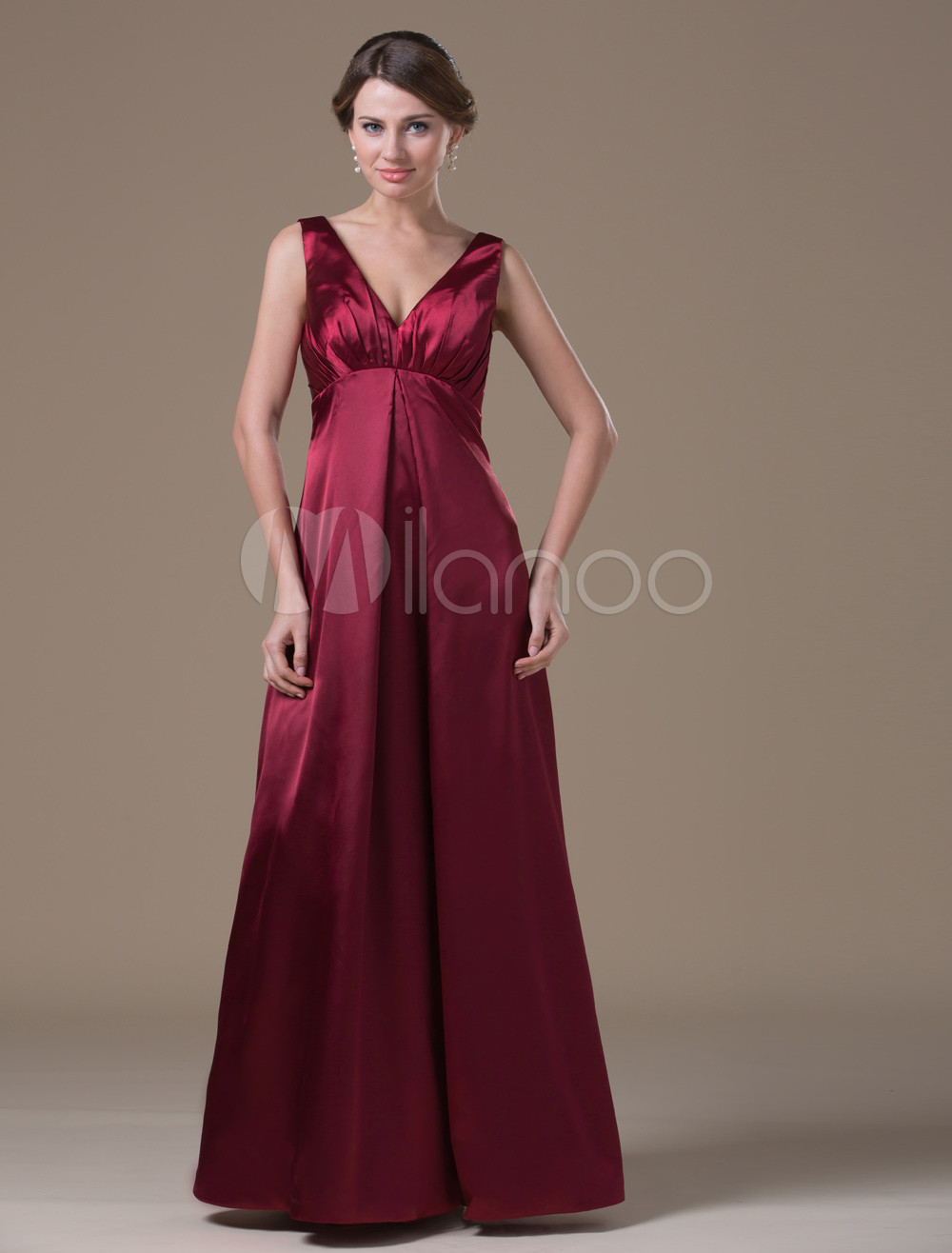 Classical Chocolate Spandex Satin A-line Floor-length Maternity Bridesmaid Dress