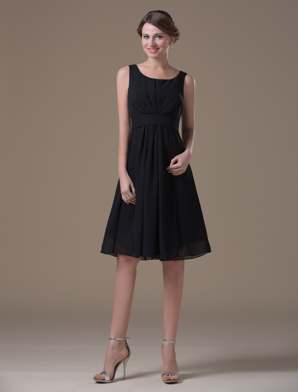 Concise Black Chiffon Tea Length Maternity Bridesmaid Dress