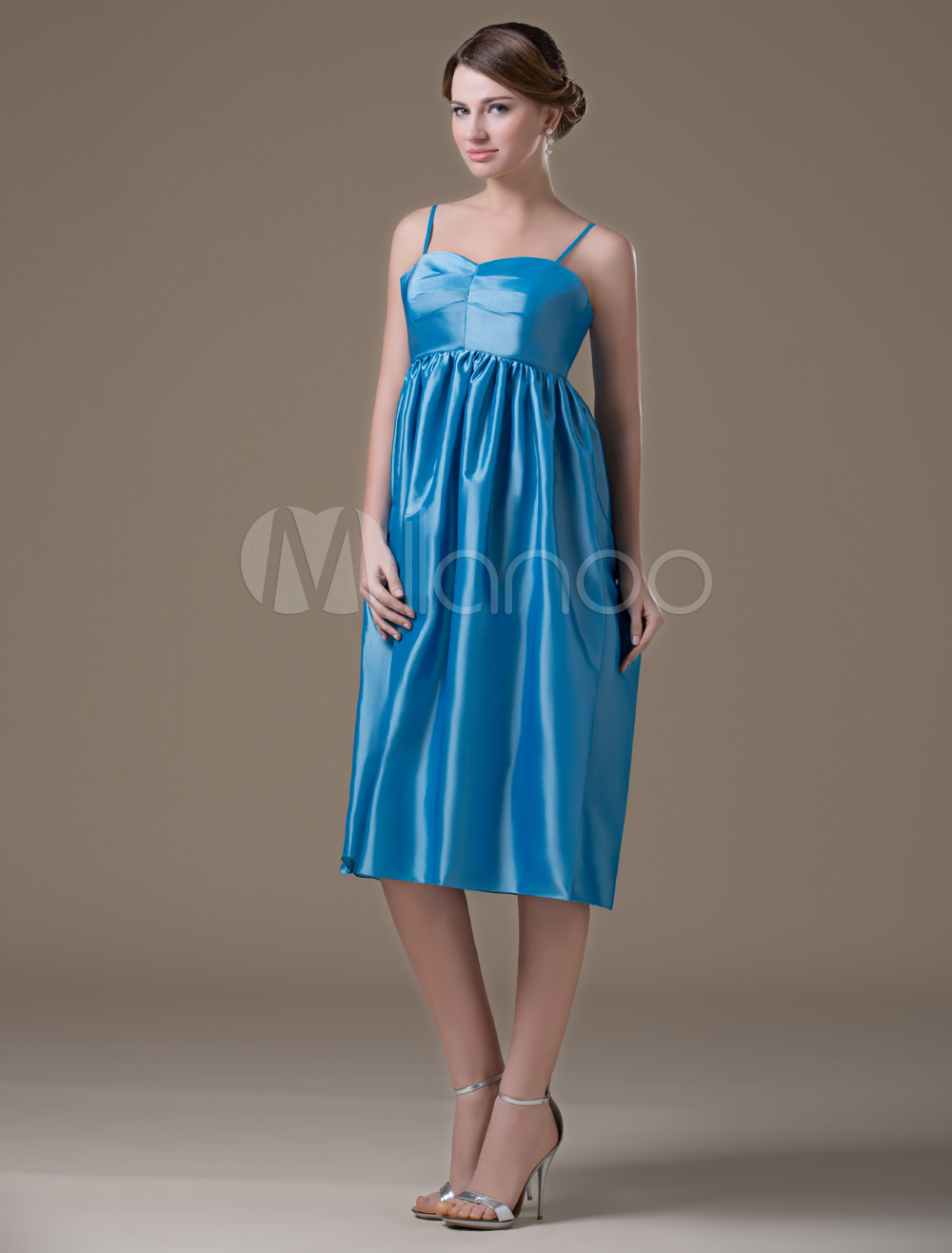 Cute Blue Taffeta Sweetheart Tea Length Maternity Bridesmaid Dress