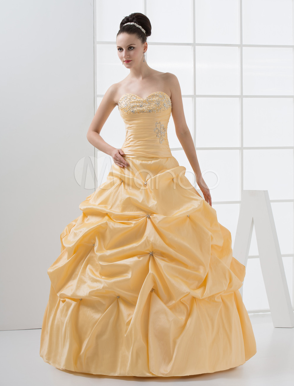 Sequin Beading Sweetheart Floor-Length Yellow Taffeta Ball Gown