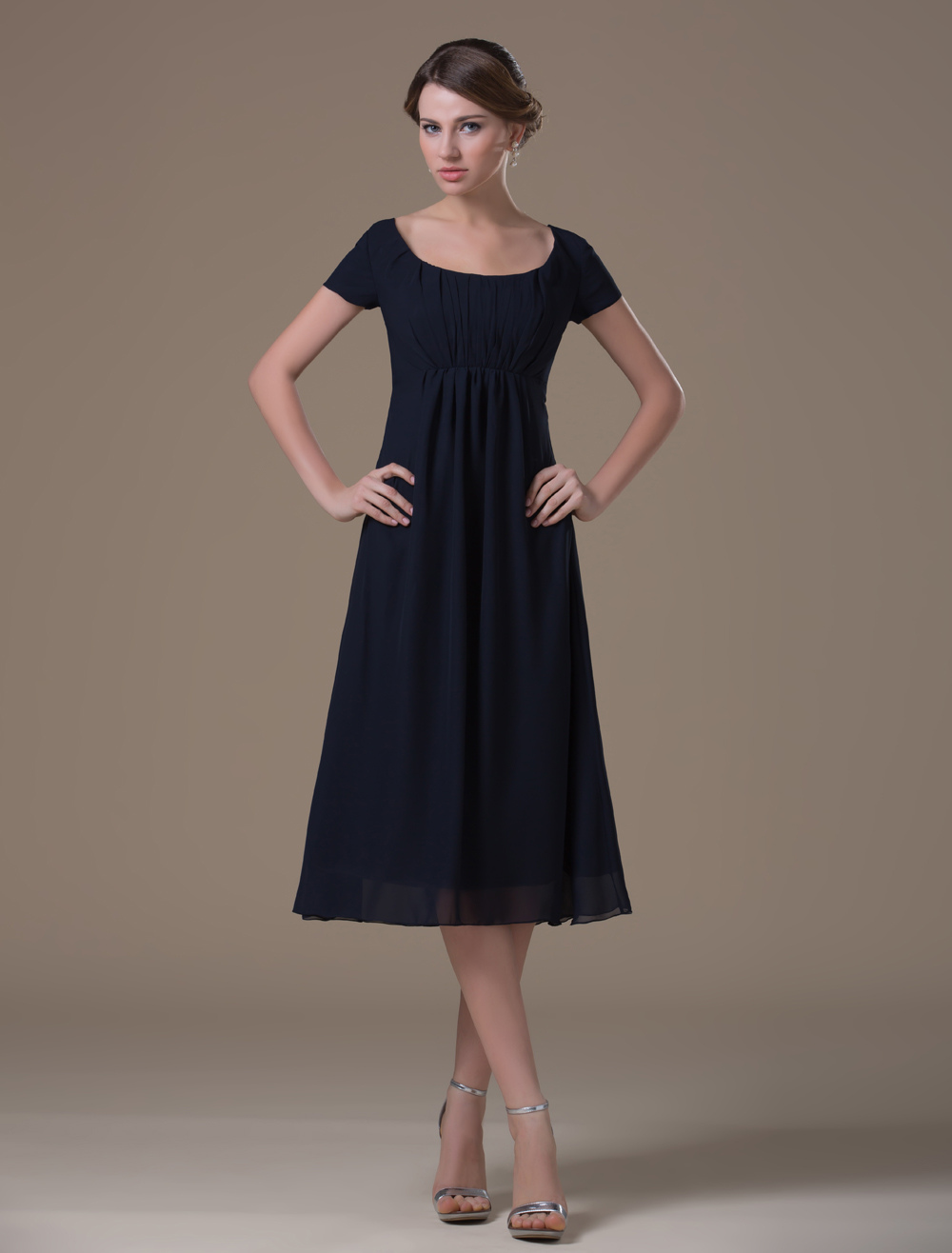 Dark Blue A-line Square Neck Chiffon Tea Length Maternity Bridesmaid Dress