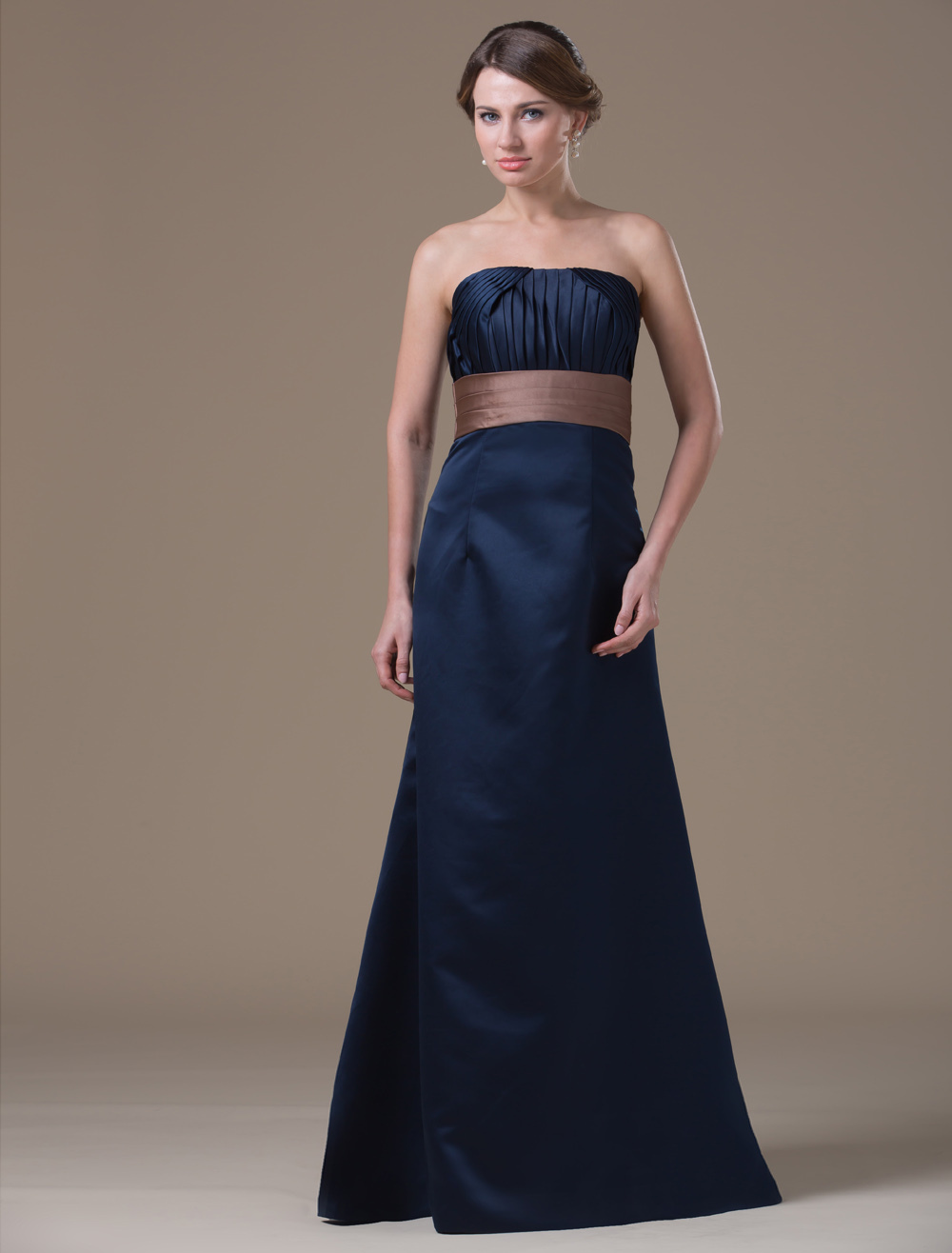 A-line Dark Navy Satin Maternity Bridesmaid Dress with Strapless Empire Waist