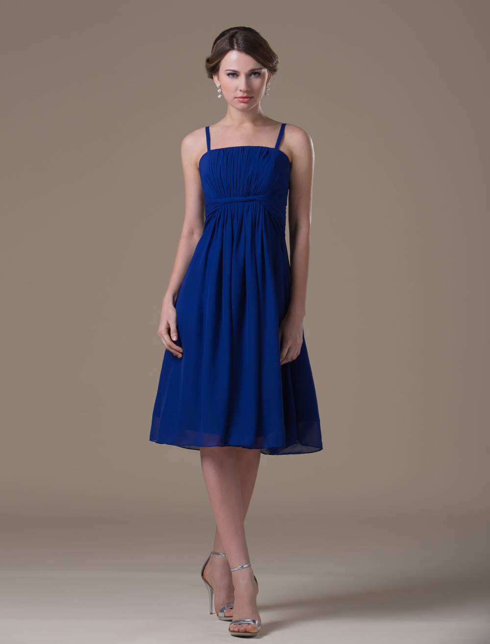 Dark Blue Chiffon Knee Length Maternity Bridesmaid Dress