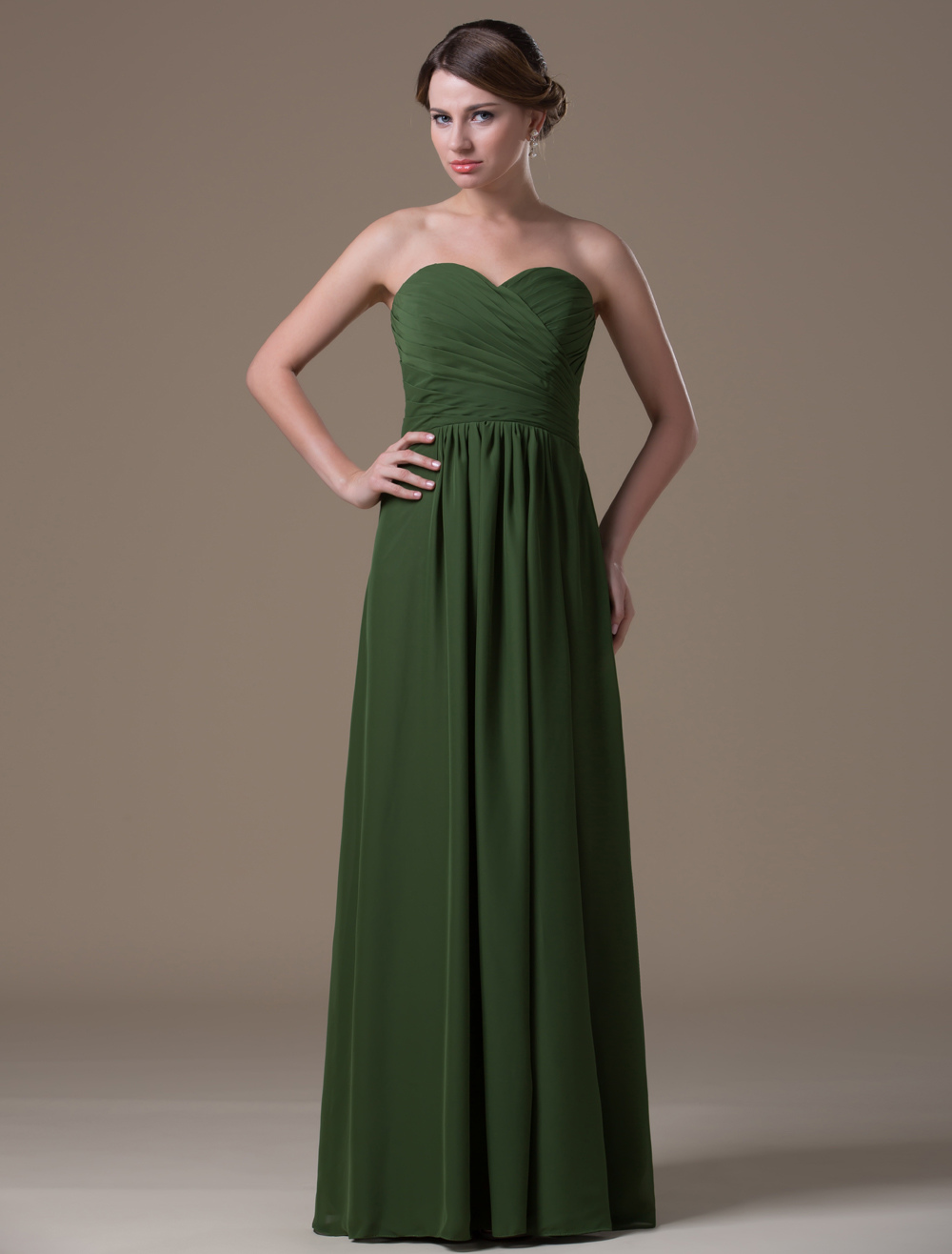 A-line Green Chiffon Maternity Bridesmaid Dress with Empire Waist