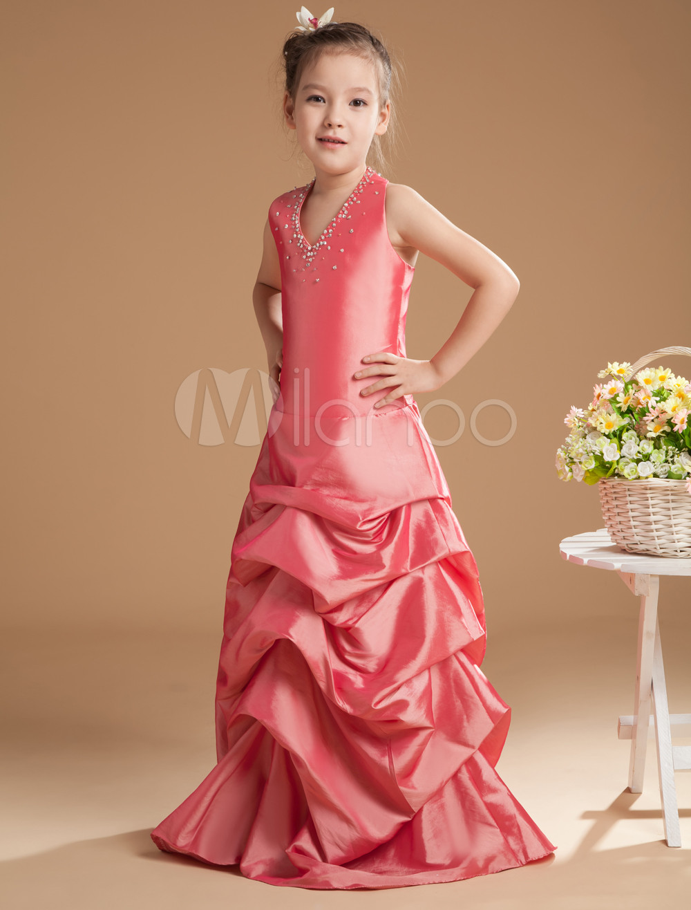 Elegant Pink Taffeta V-neck Floor Length Junior Bridesmaid Dress