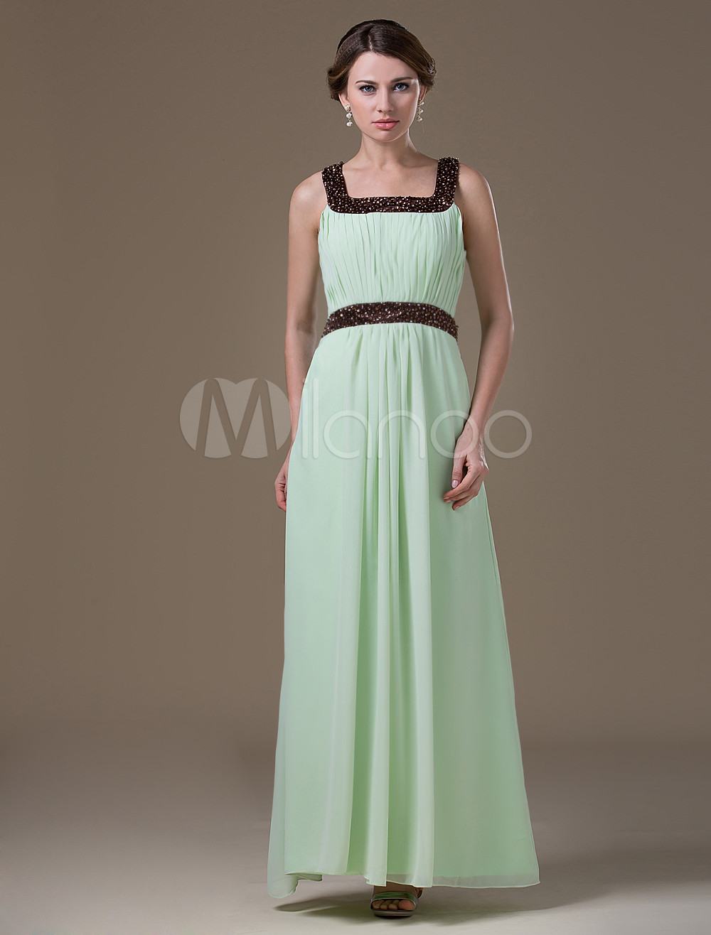 Fresh Light Green Chiffon Floor Length Maternity Bridesmaid Dress