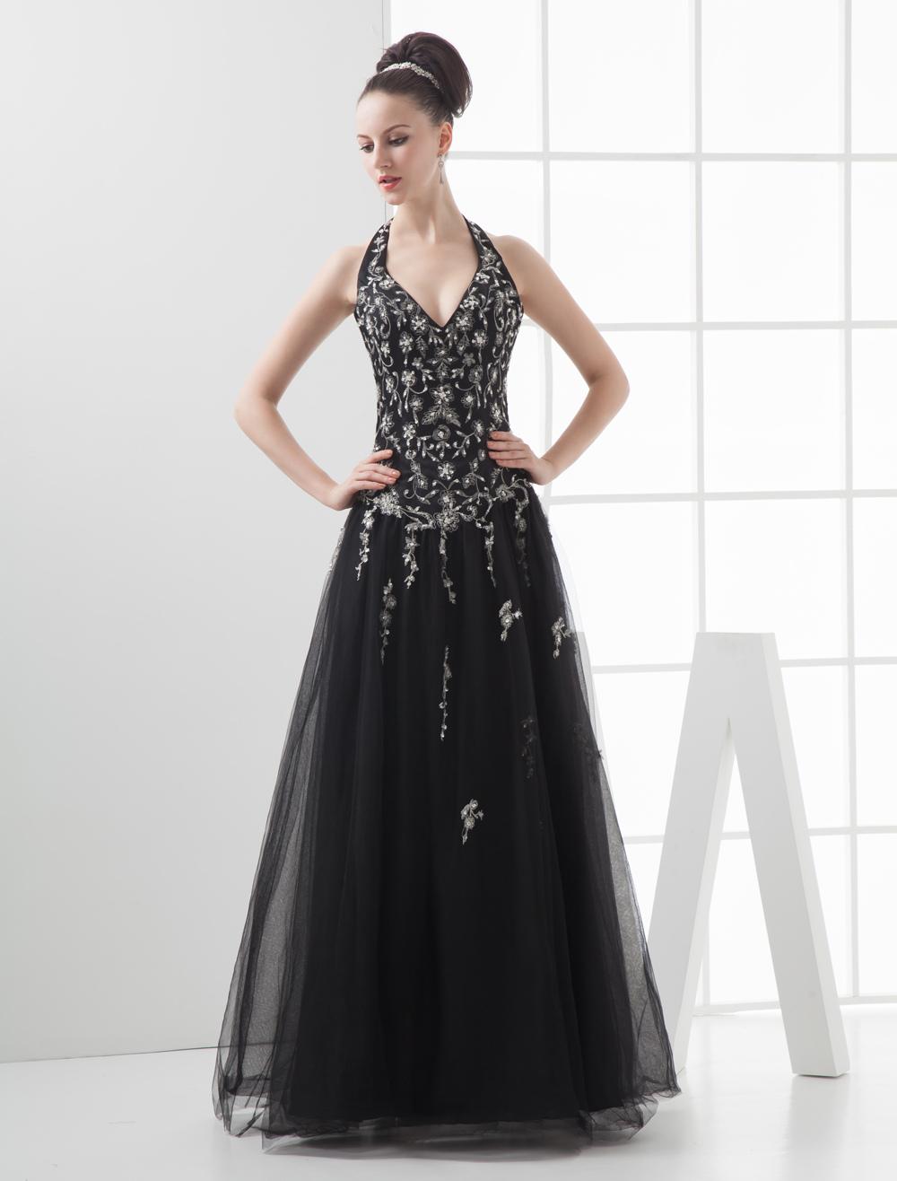 Embroidered Beading V-Neck Floor-Length Black Net Ball Gown