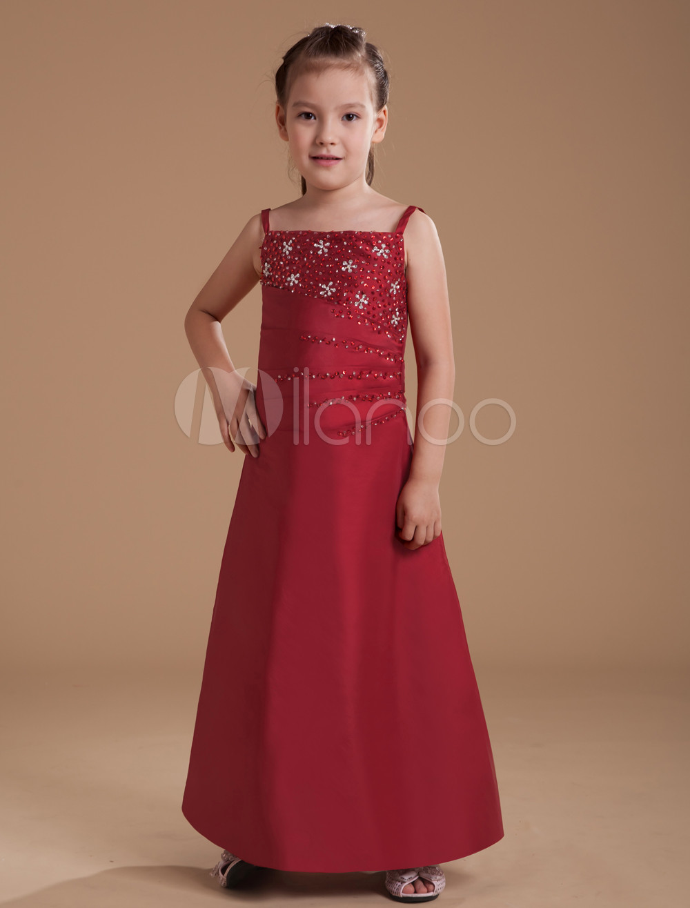 Gorgeous Wine Red Taffeta Thin Shoulder Straps Floor Length Junior Bridesmaid Dress