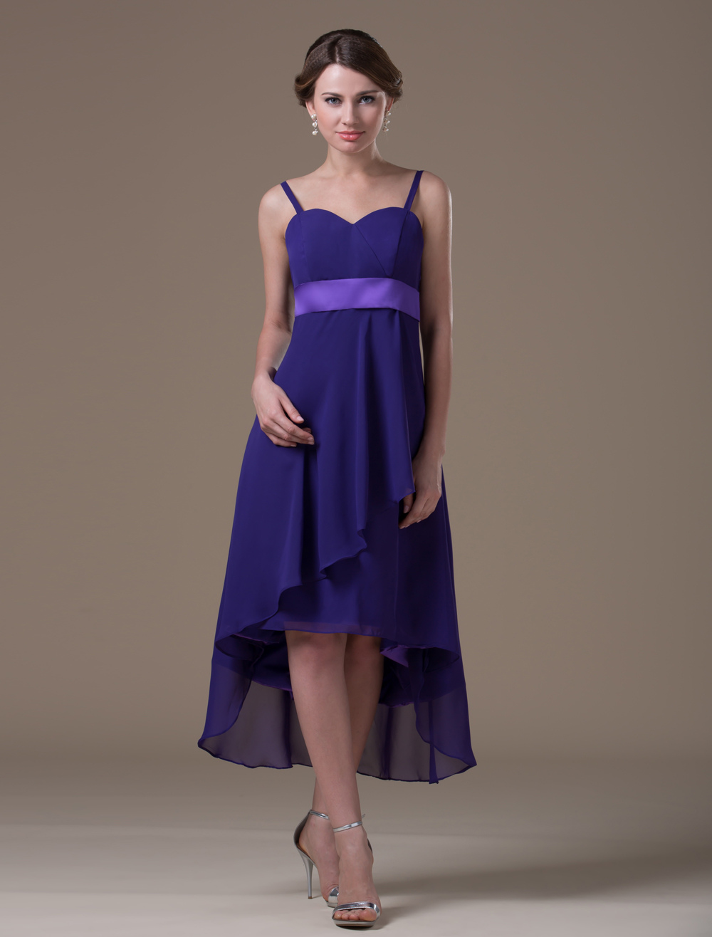 Grape Elastic Woven Satin Tea Length Maternity Bridesmaid Dress