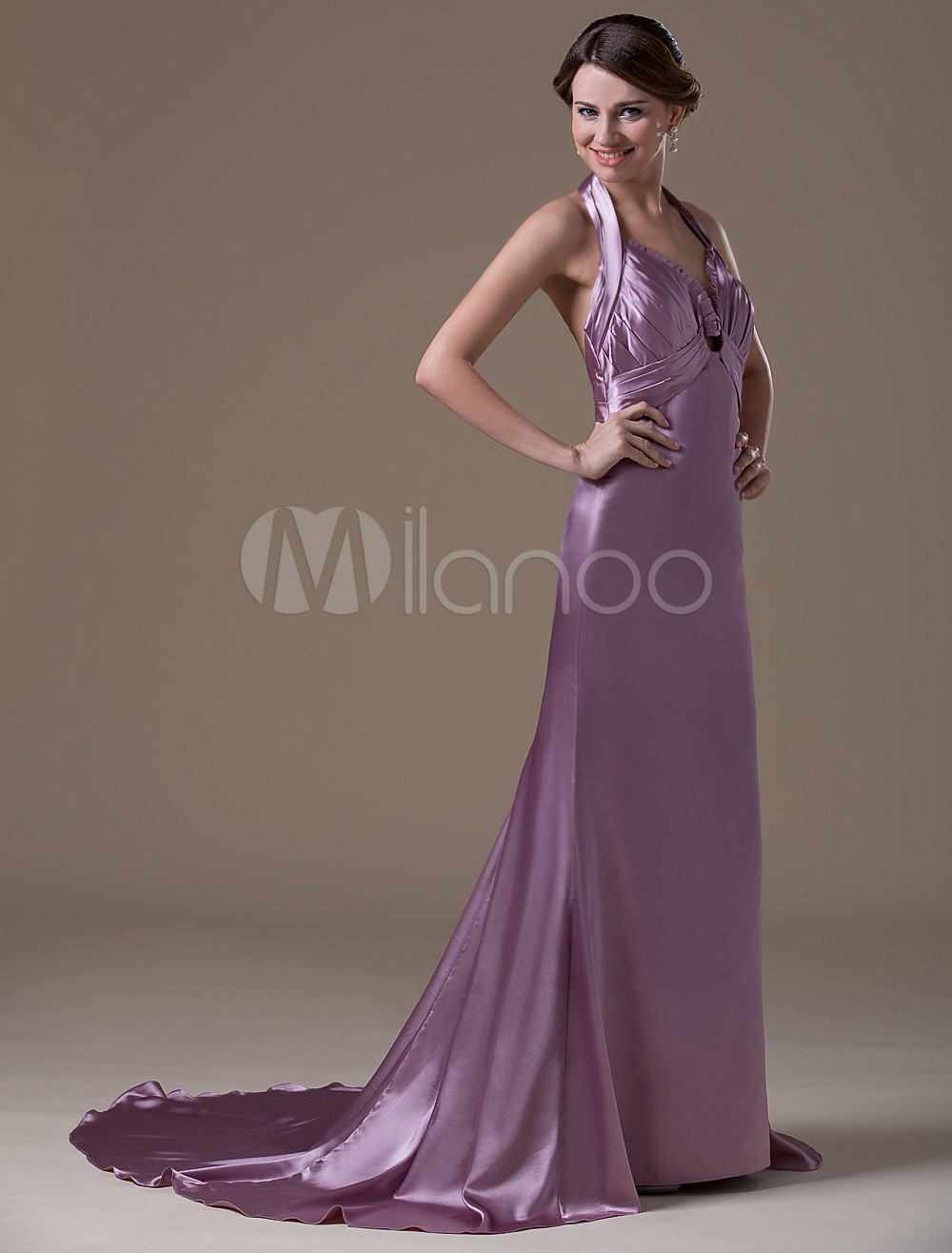 Light Purple A-line Halter Spandex Satin Floor-length Maternity Bridesmaid Dress