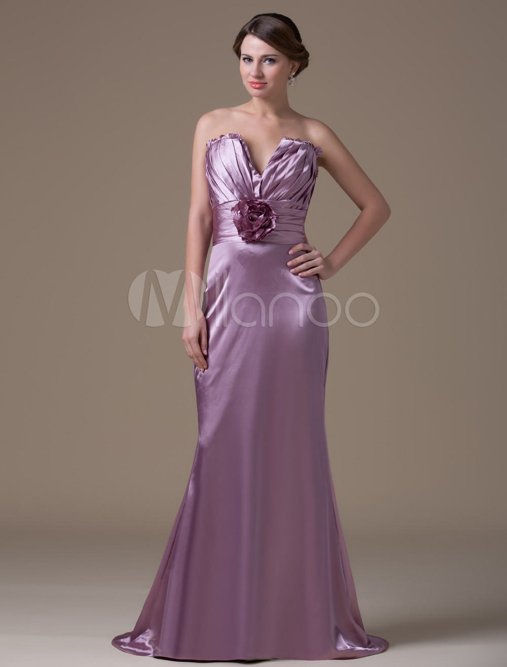 Light Purple Fashion A-line Spandex Satin Maternity Bridesmaid Dress
