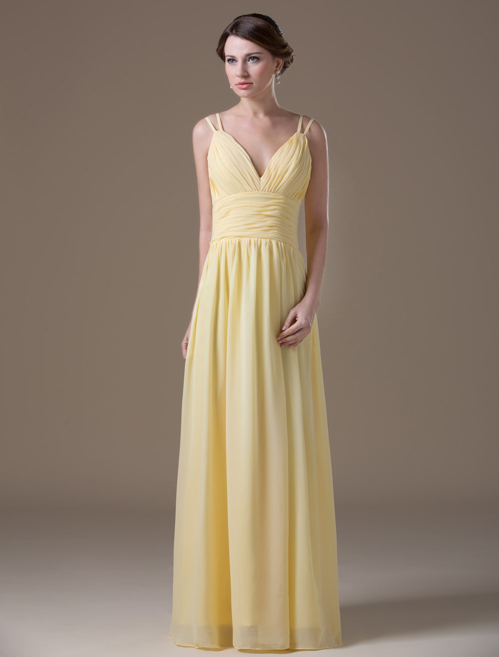 Princess Silhouette Yellow Chiffon Maternity Bridesmaid Dress with V-Neck Empire Waist