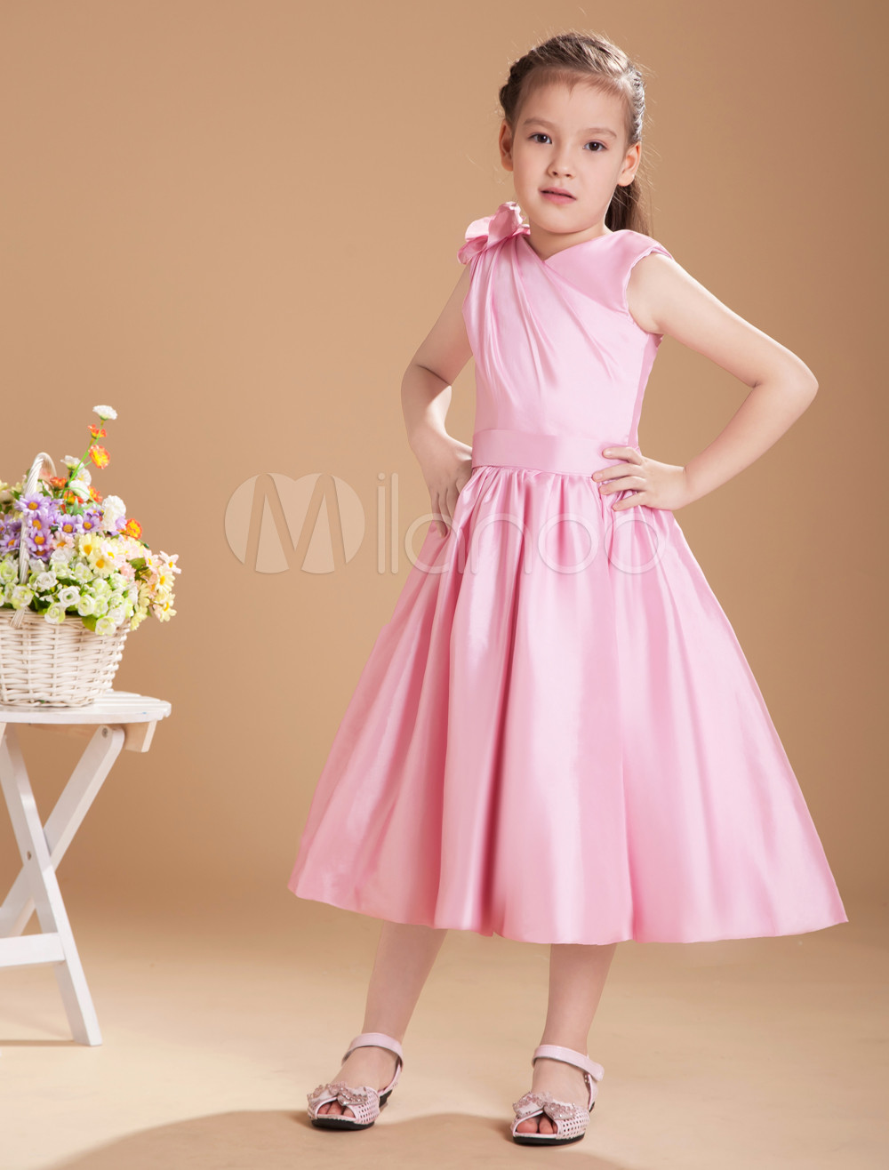 Lovely Pink Taffeta V-neck Knee Length Junior Bridesmaid Dress