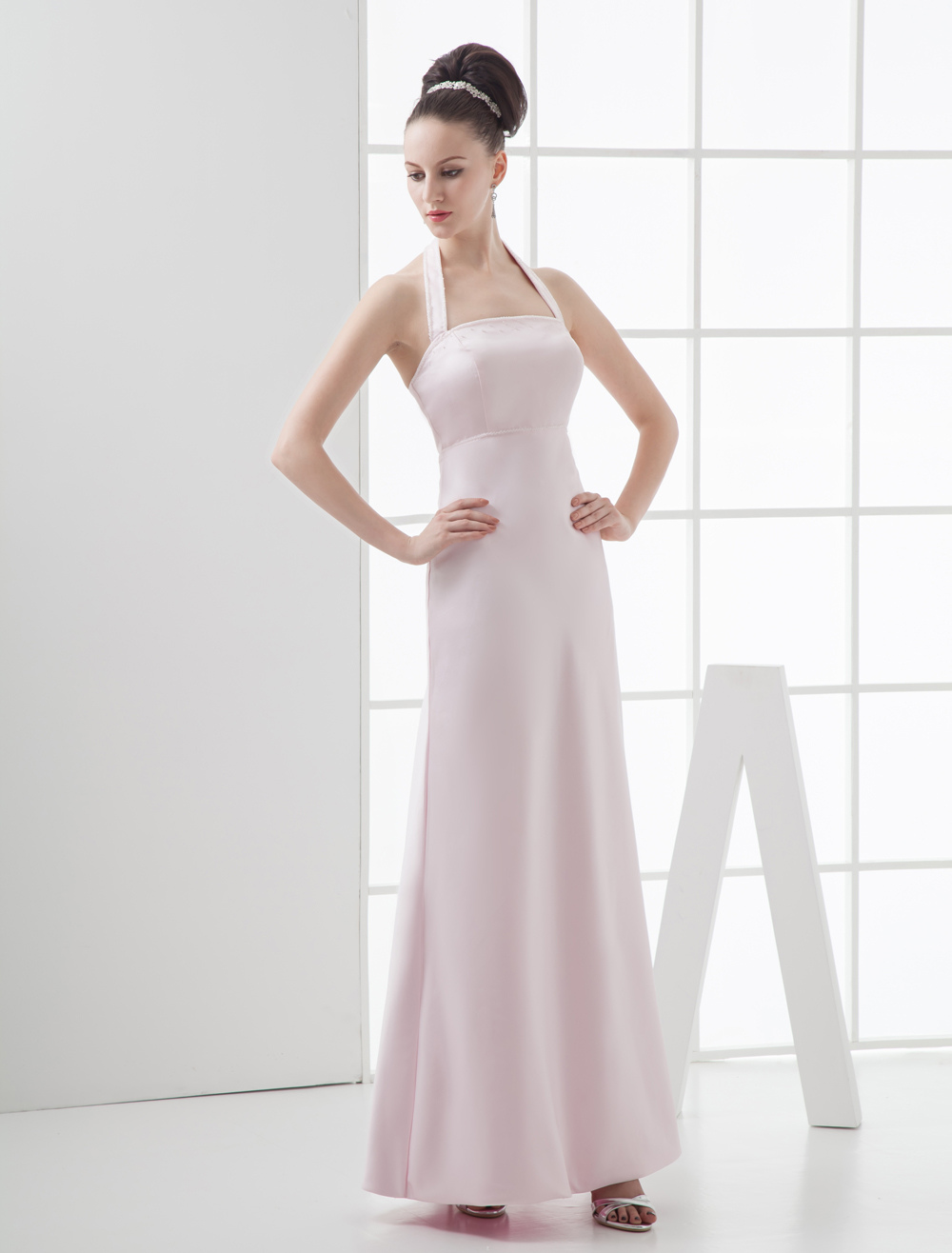 Pink Halter Floor Length Satin Bridesmaid Dress