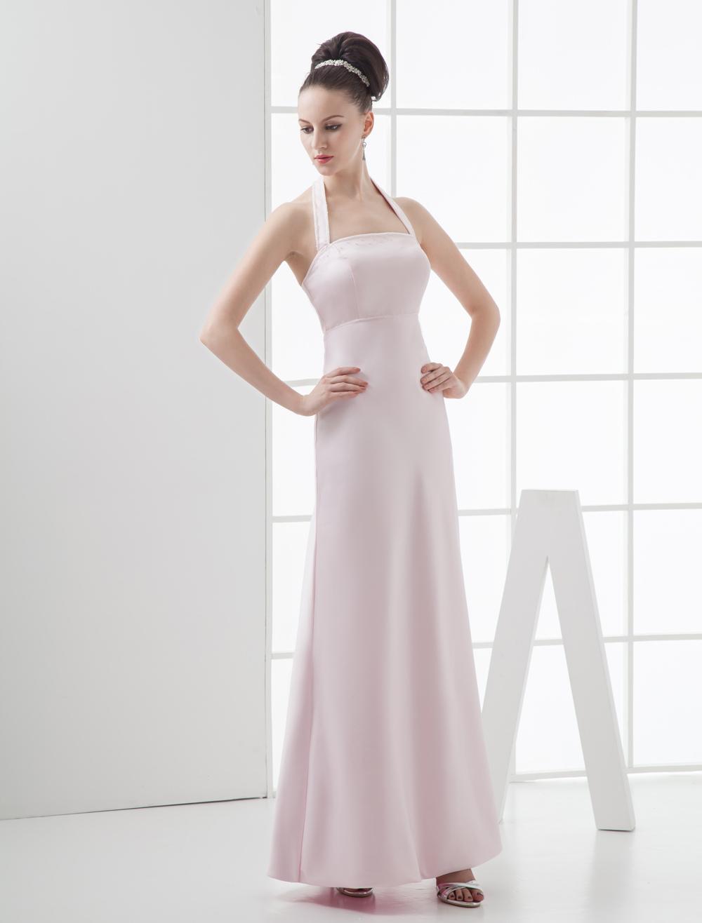 Pink Halter Floor Length Satin Bridesmaid Dress