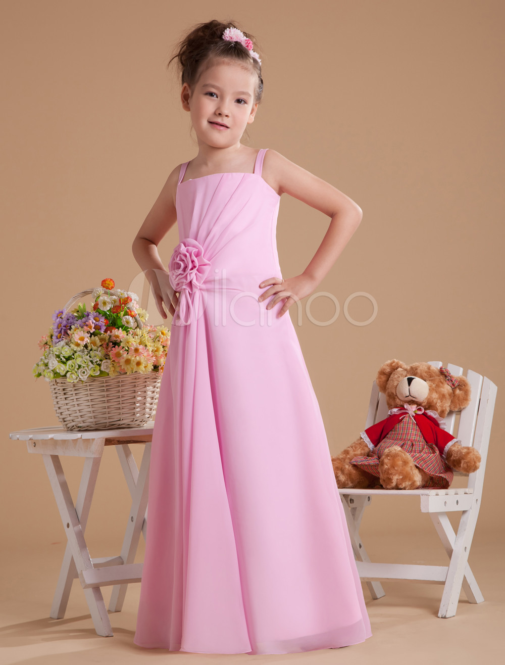 Pink Spaghetti Flower Floor Length ChiffonJunior Bridesmaid Dress