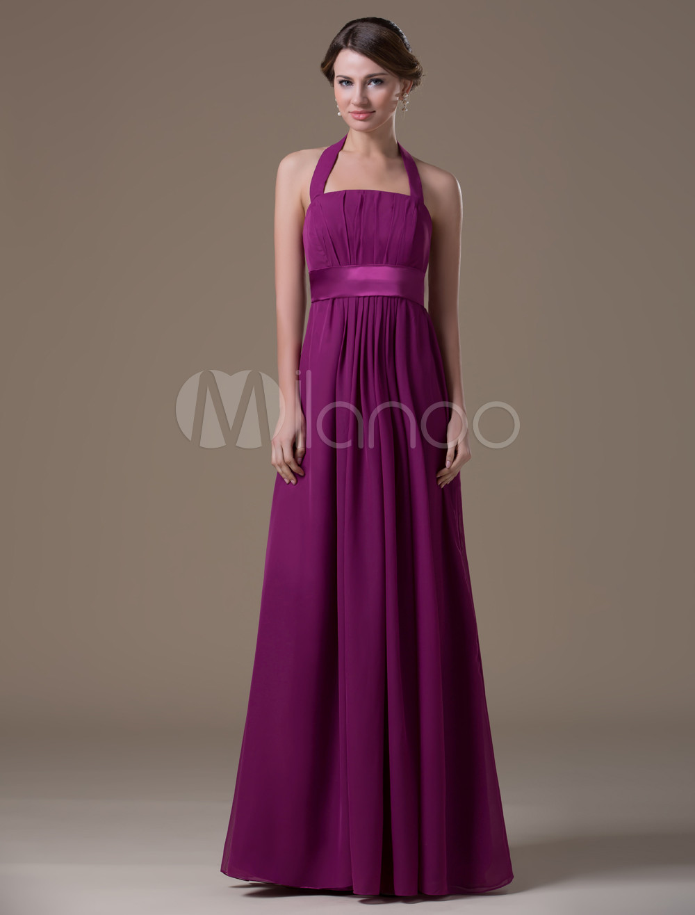 Maternity Bridesmaid Dress Magenta Halter Chiffon A line Floor Length Prom Dress