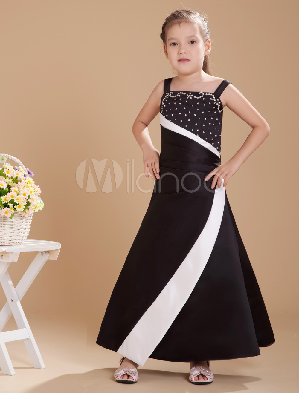 Pretty Black Satin Double Spaghetti Straps Floor Length Junior Bridesmaid Dress