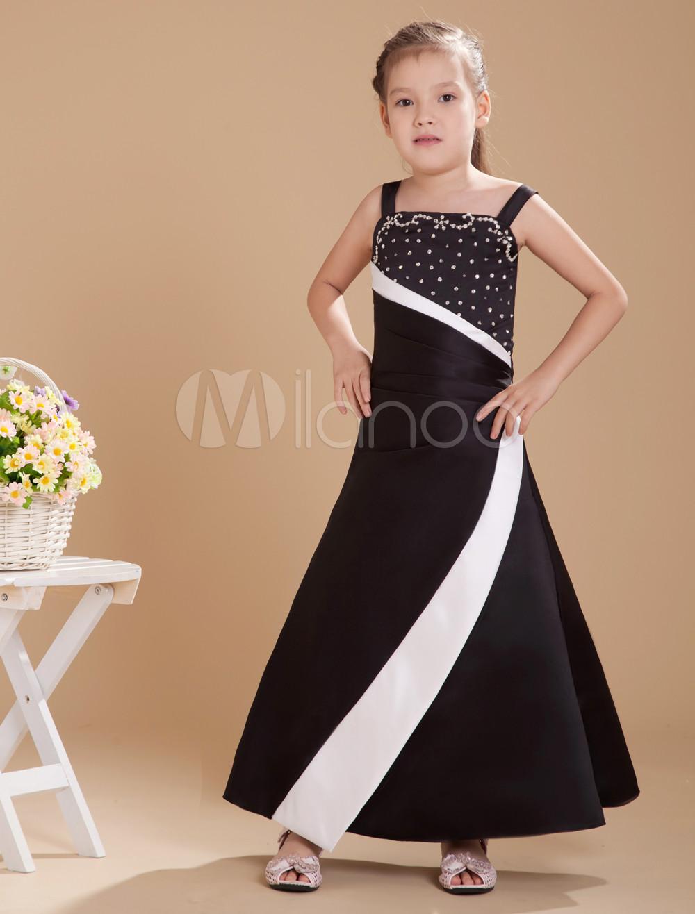 Pretty Black Satin Double Spaghetti Straps Floor Length Junior Bridesmaid Dress