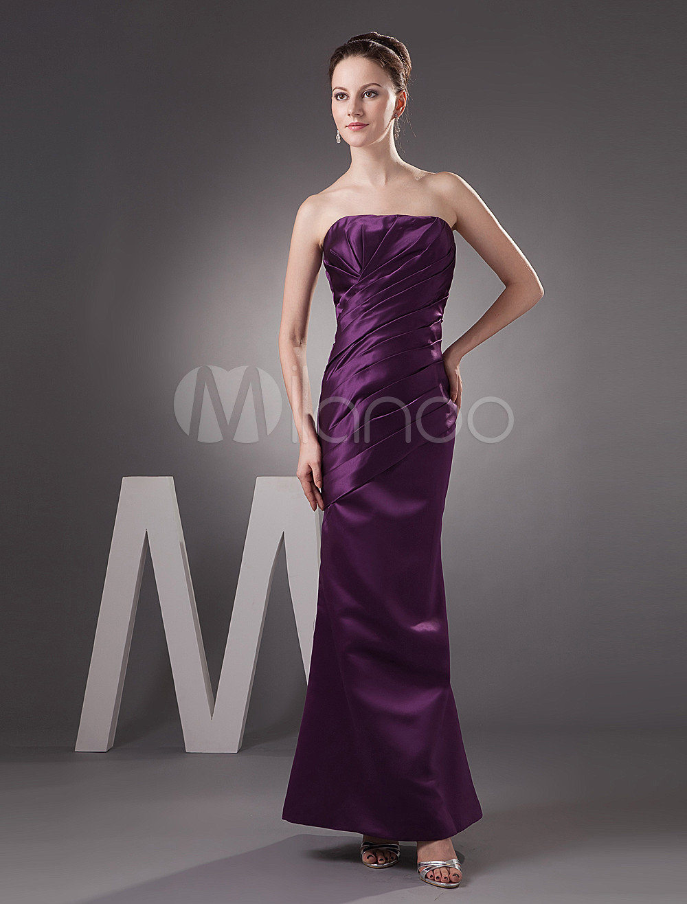 Pretty Grape Satin Strapless Floor Length Bridesmaid Dress