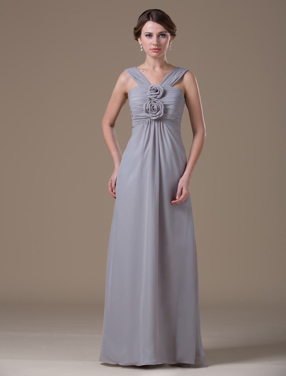Chiffon Halter Floor Length Maternity Bridesmaid Dress