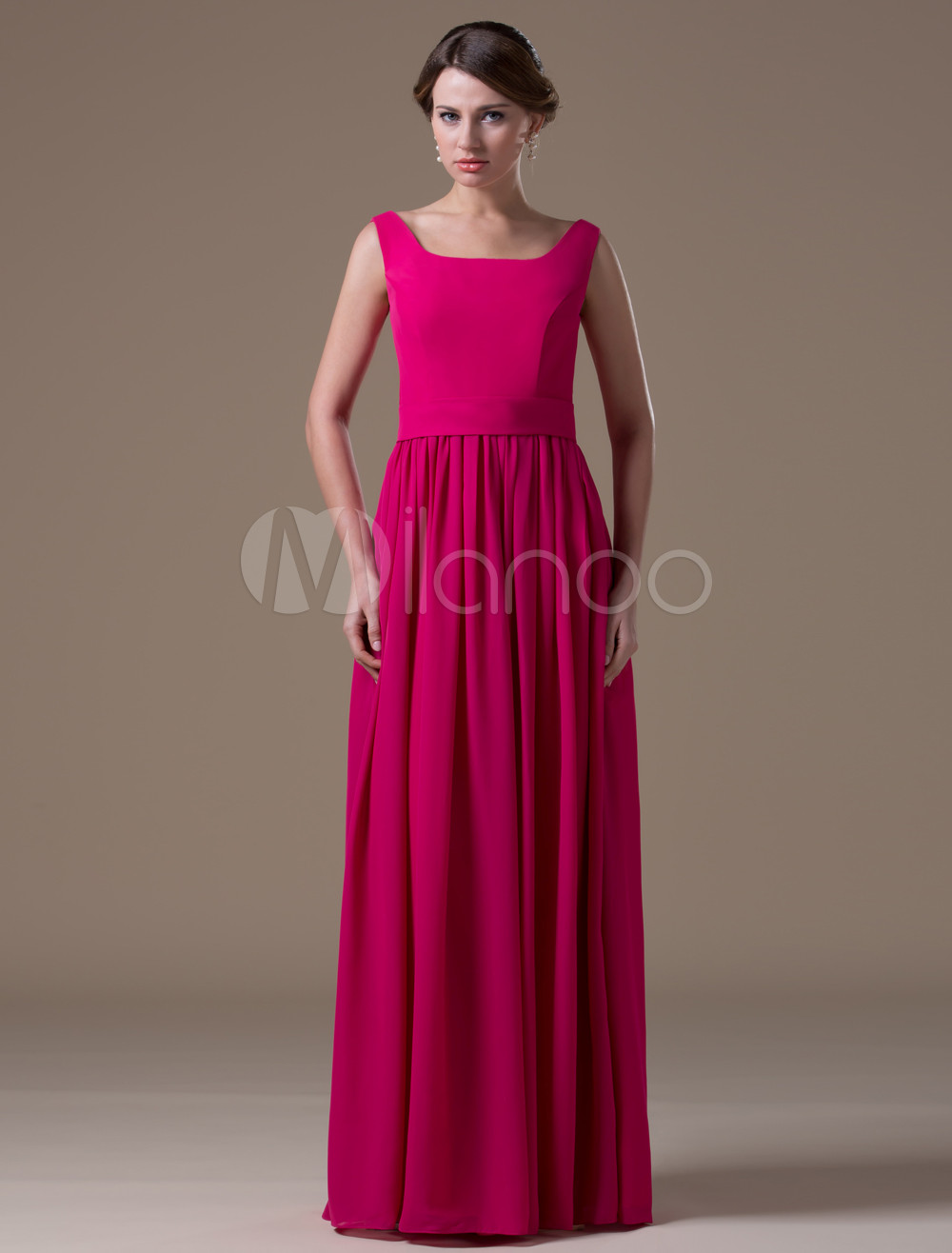 Red Ball Gown Spaghetti Chiffon Floor-length Womens Maternity Bridesmaid Dress