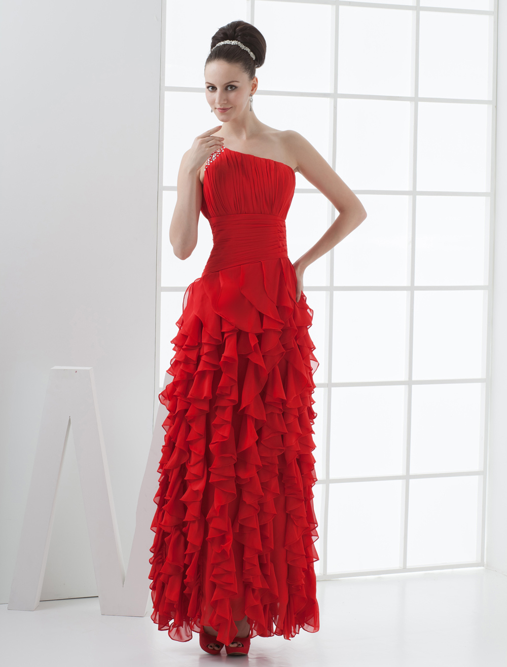 Red One-Shoulder Sweep Chiffon Prom Dresses