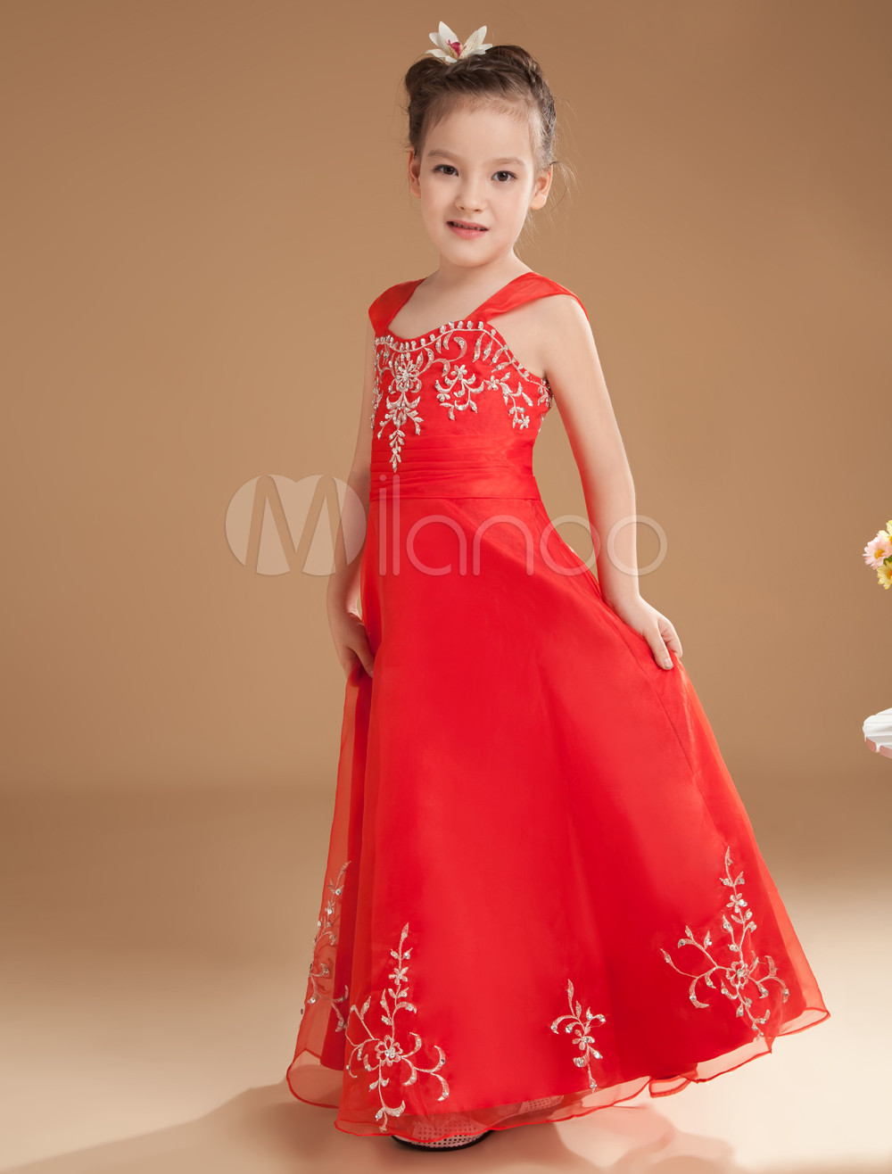 Wedding Little Girls Dresses romantic red satin off the shoulder floor length little girls dress milanoo com
