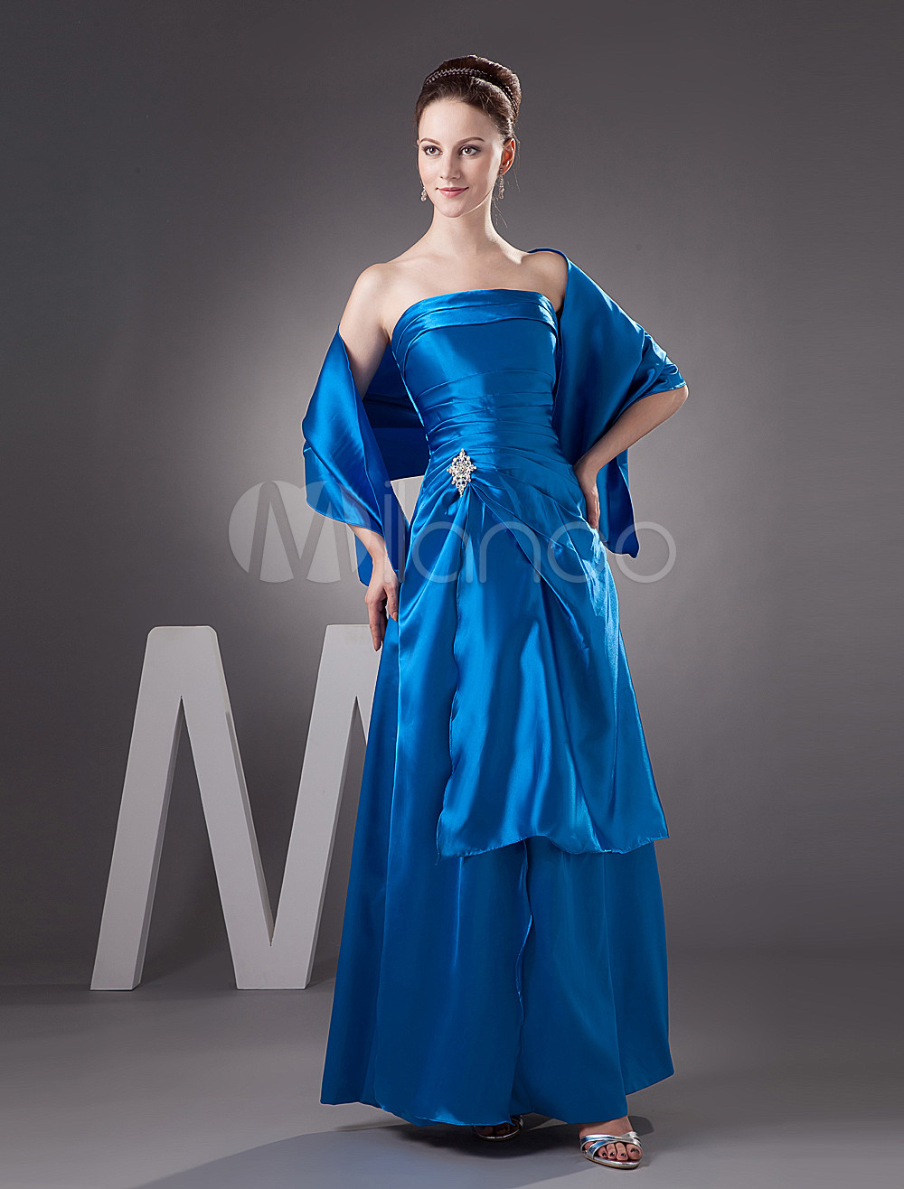 Royal Blue A-line Strapless Elastic Woven Satin Bridesmaid Dress