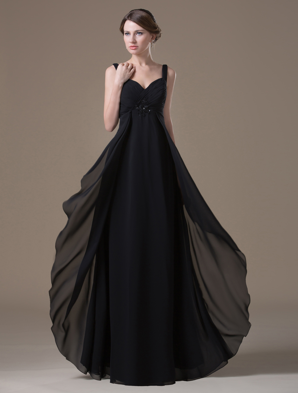 Sexy Black Spandex Chiffon A-line Maternity Bridesmaid Dress