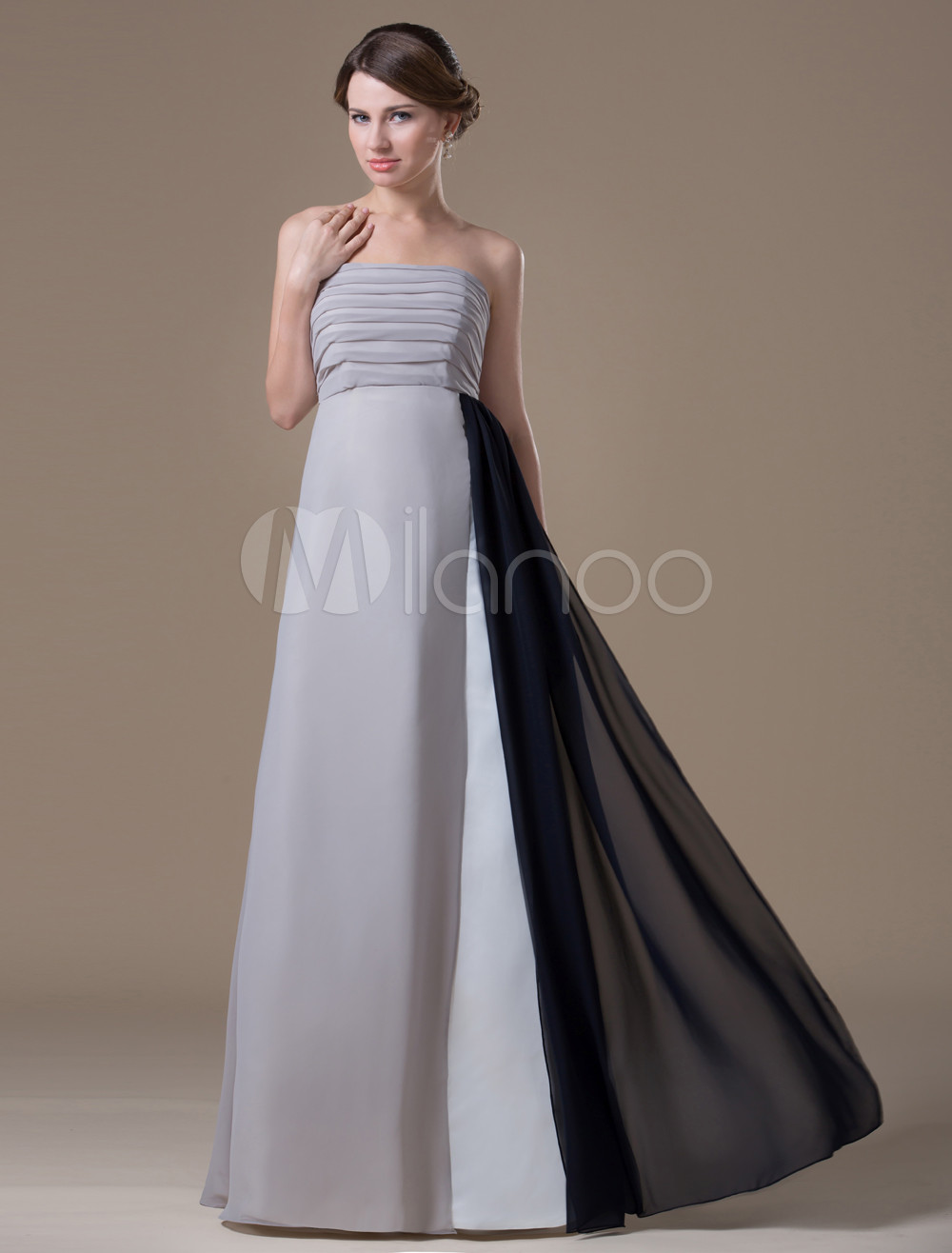 A-line Silver Chiffon Maternity Bridesmaid Dress with Empire Waist