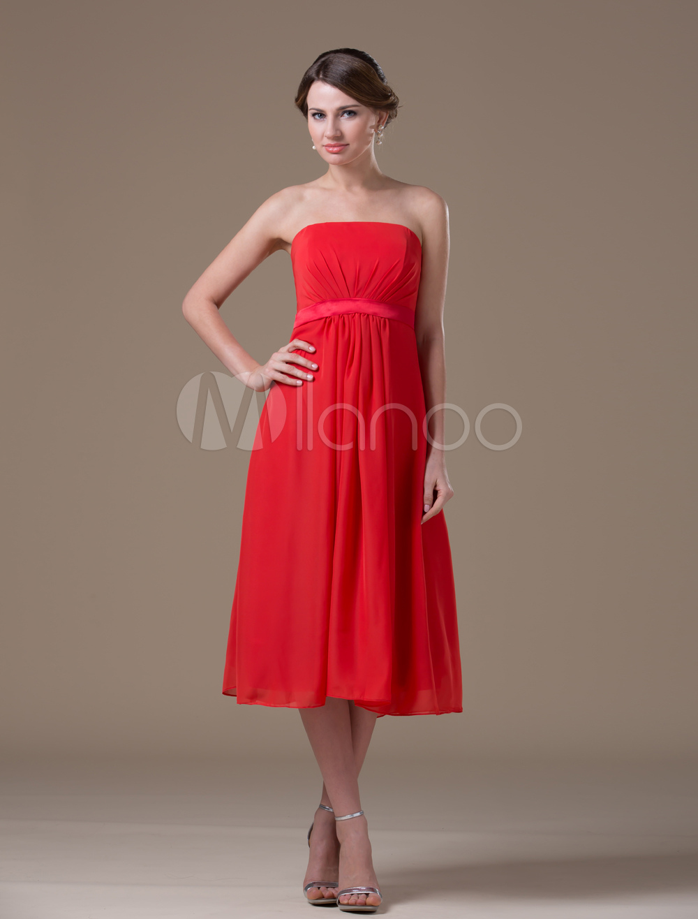 Strapless Red Elastic Satin Chiffon Tea Length Maternity Bridesmaid Dress