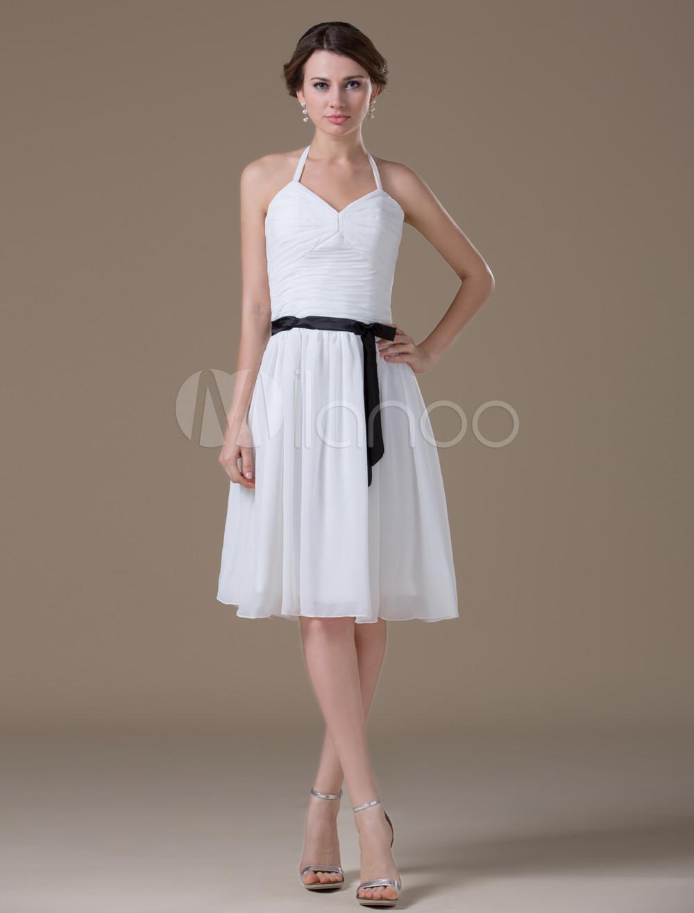 Sweet White Chiffon Black Sash A-line Womens Evening Dress (Wedding) photo