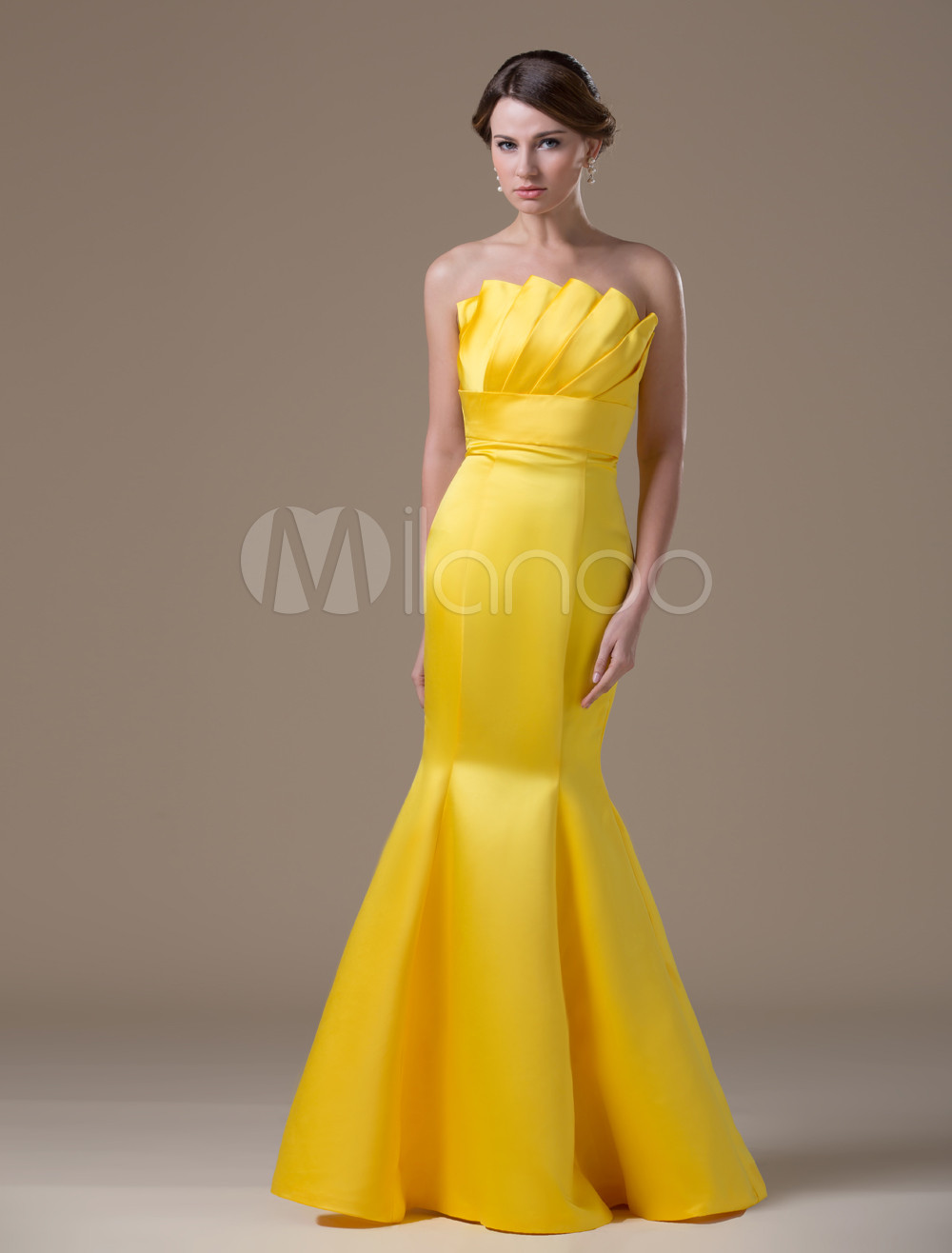 Unique Golden Satin Mermaid Strapless Evening Dress