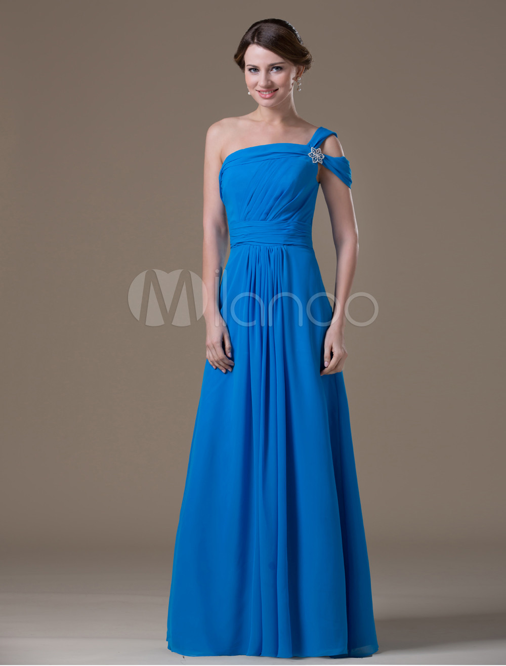 Unique Royal Blue Chiffon One Shoulder Maternity Bridesmaid Dress