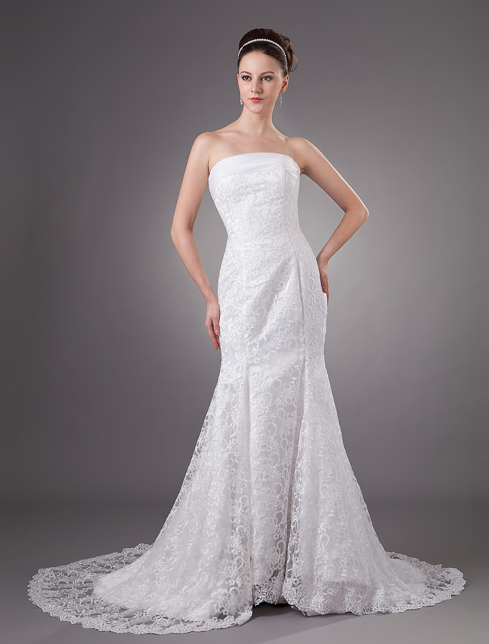 White Lace Beautiful Strapless Mermaid Trumpet Wedding Dress ...