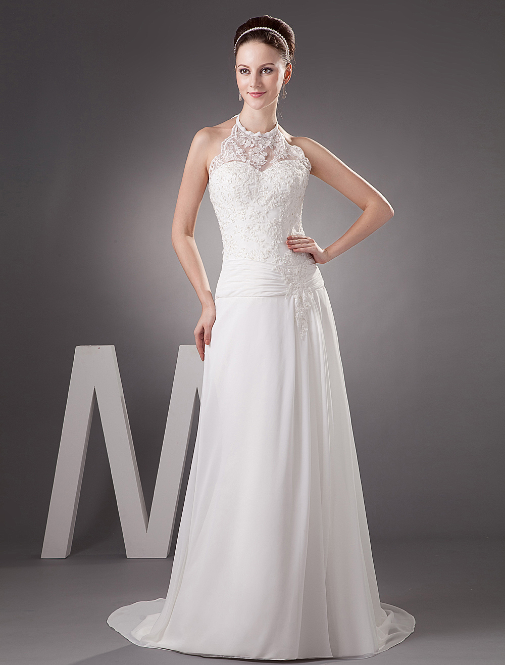 White Sheath Halter Beading Lace Chiffon Wedding Dress