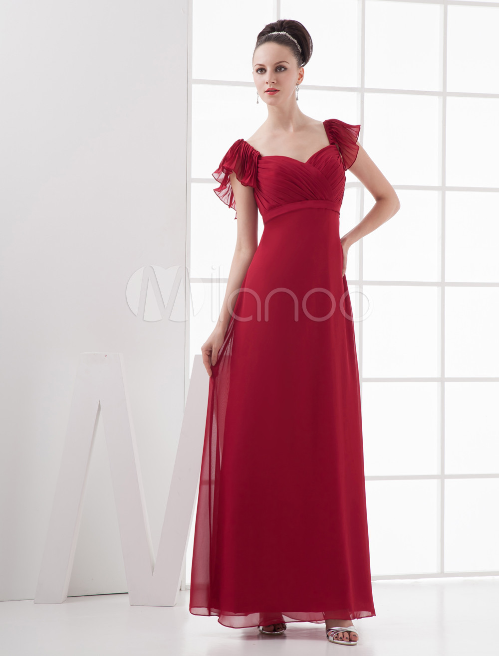 A-line Sweetheart Neck chiffon Floor Length Flower Bridesmaid Dress