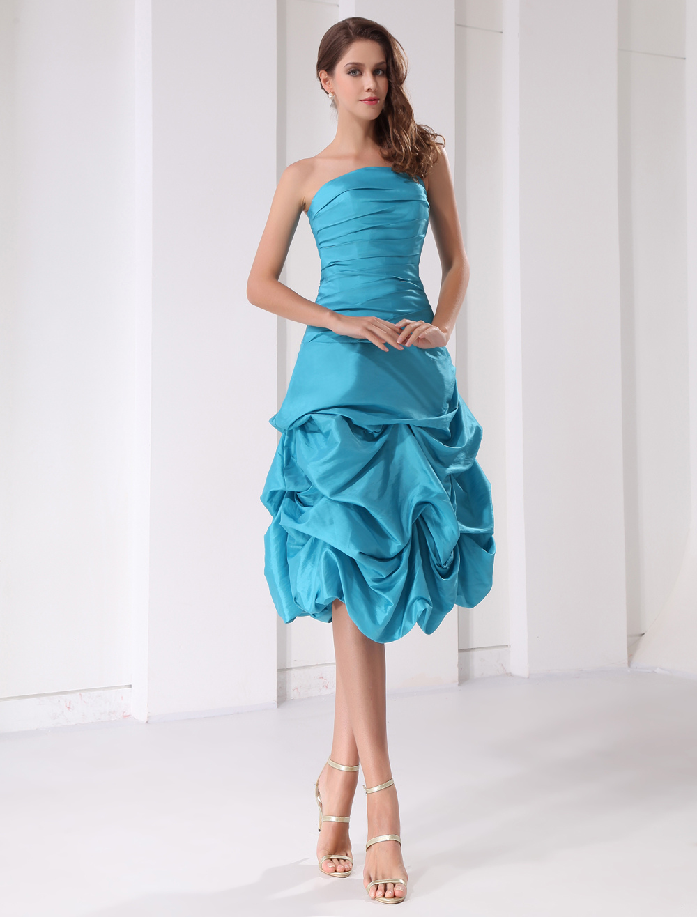 Short Prom Dress Aqua Strapless Ruched Ball Gown Knee Length Taffeta Party Dress