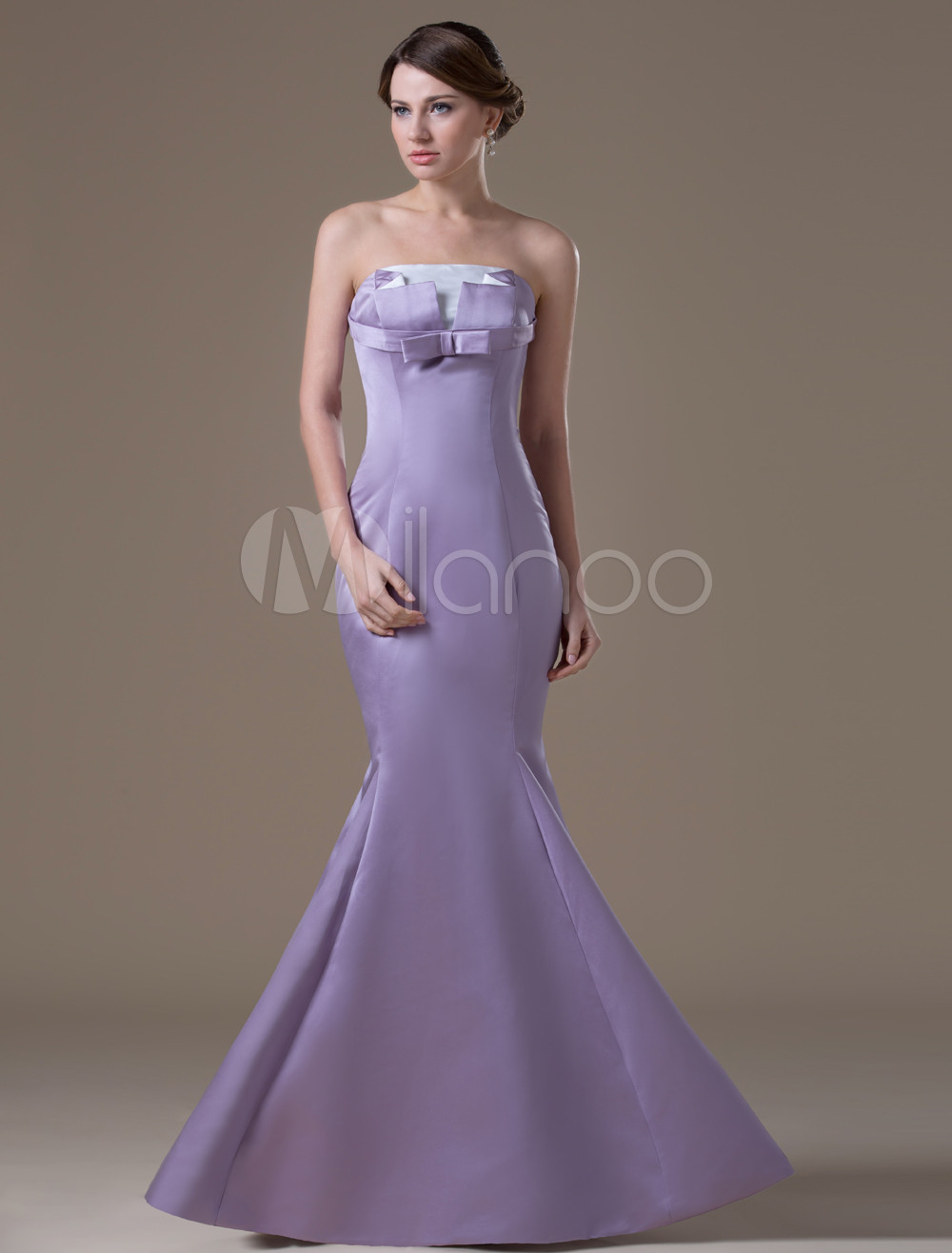 Fashion Light Purple Satin A-line Maternity Bridesmaid Dress
