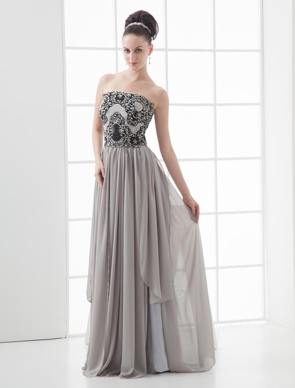 Grace Gray Chiffon Strapless Paillette Decoration Prom Dress (Wedding Evening Dresses) photo