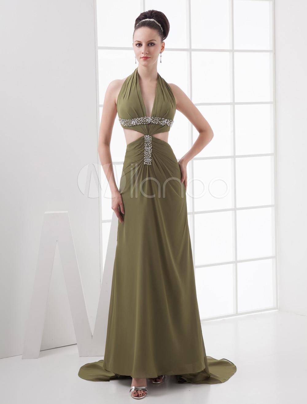 Green Sheath Halter Beading Satin Chiffon Prom Dress (Wedding Prom Dresses) photo