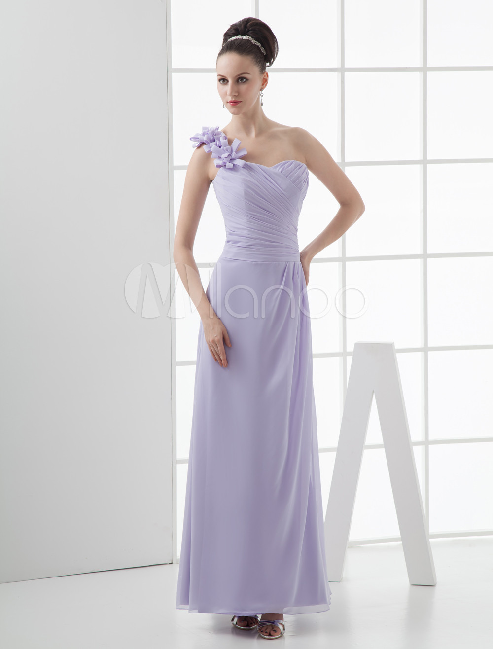 Lavender Floor Length One-Shoulder Matte Satin Chiffon Bridesmaid Dress