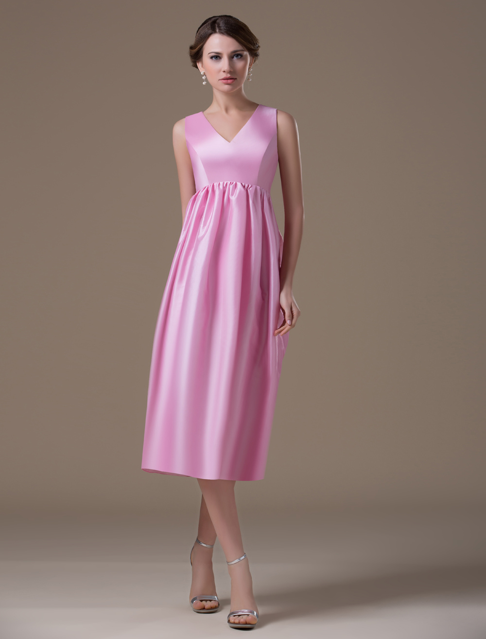Sweet Pink Taffeta V-neck Tea Length Maternity Bridesmaid Dress